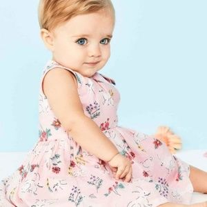 Baby Girl Carter's Pink Floral Bunny Dress